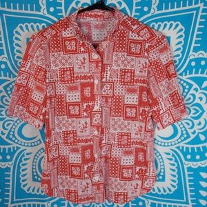 Vintage Retro Shirt Grandma Style Button Up S
